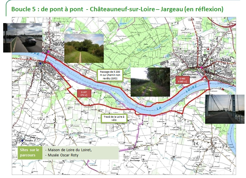 Carte boucle cyclo Jargeau-Châteauneuf